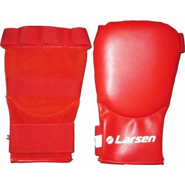 Накладки на руки каратэ (блинчики) кожа красные LARSEN